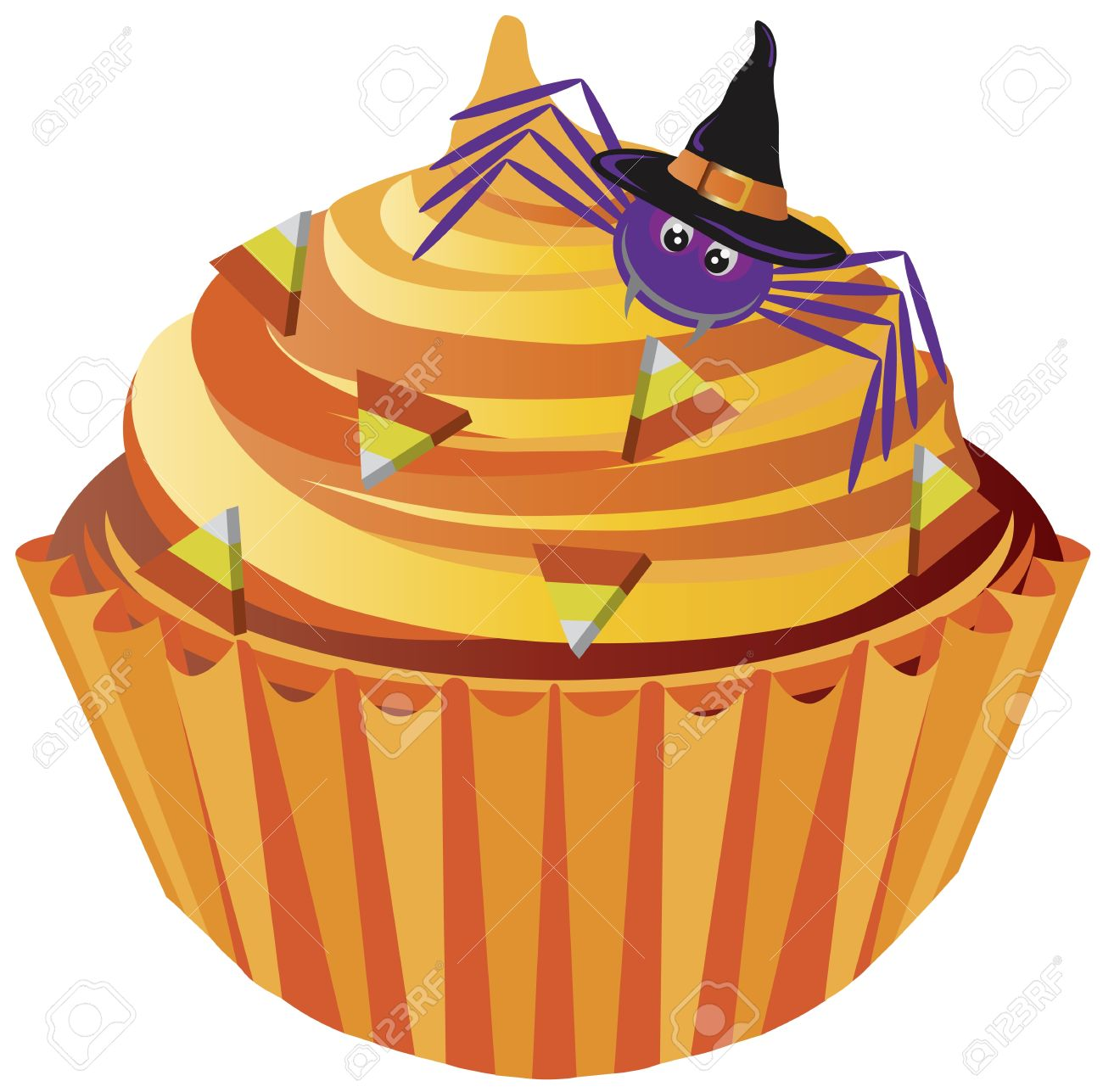 Halloween Cupcake with Spider with Witch Hat and Candy Illustration.