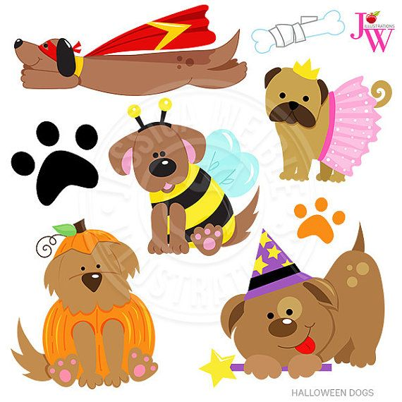 Halloween Dogs Cute Digital Clipart, Halloween Puppy Clip art.