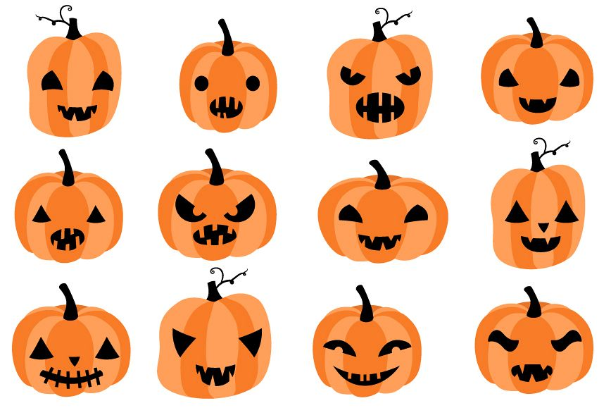 Cute Halloween pumpkin clipart set with eyes and mouths.