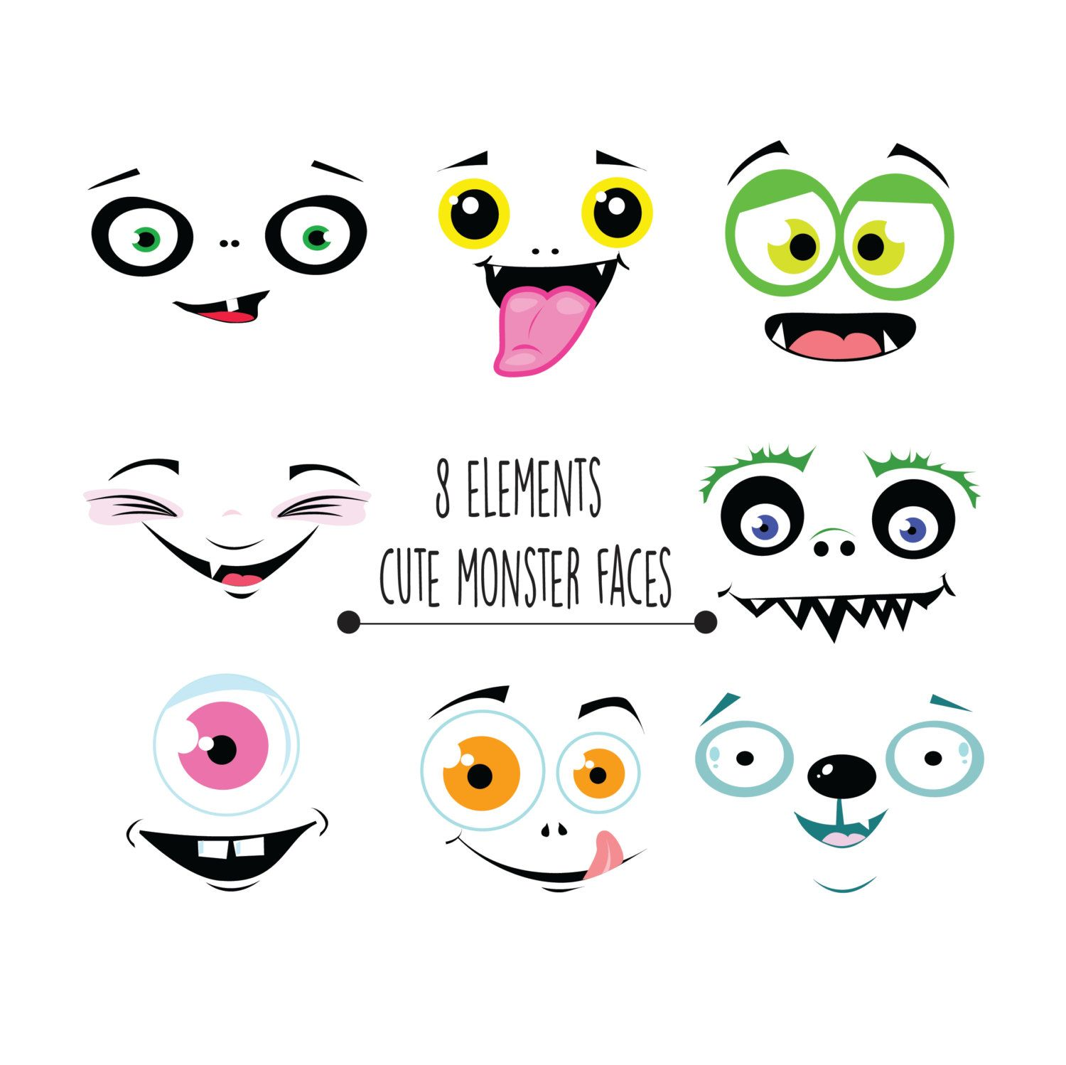 Monster face clipart, monster faces clipart, funny faces.