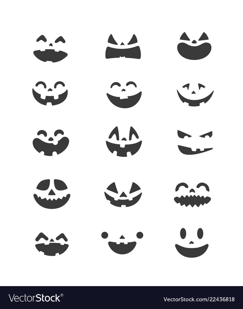 Halloween pumpkin faces set clipart.