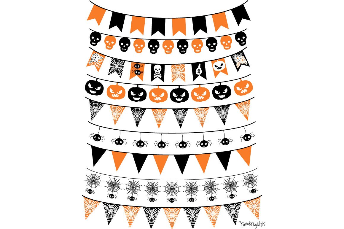 Halloween banner, Halloween bunting , Garland clipart By.
