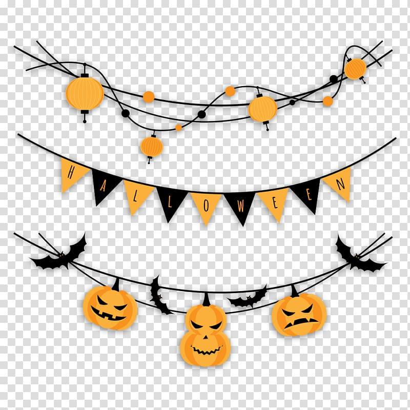Halloween Party Garland , Pumpkin Pull Flag transparent.