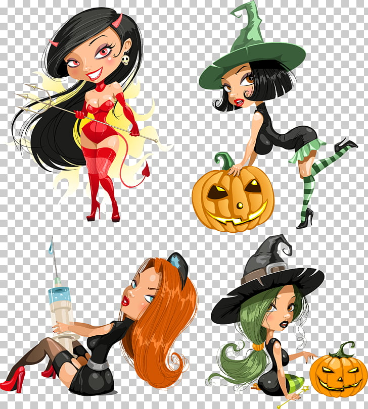 Halloween Witchcraft , Cartoon cute modeling girl PNG.