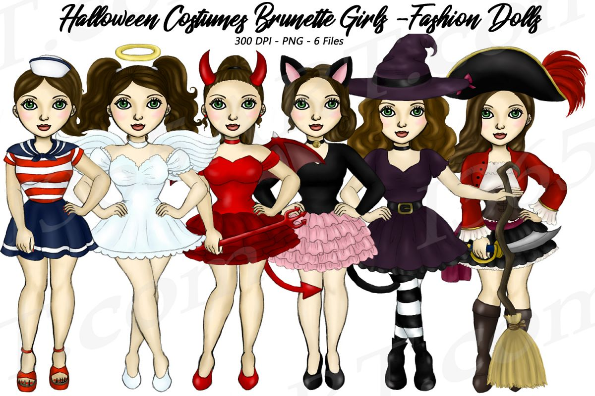 Halloween Girls Fashion Clipart, Costume Brunette Graphics.