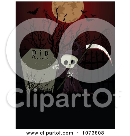 Clipart of a Spooky Halloween Cemetery with Headstones, Iron.