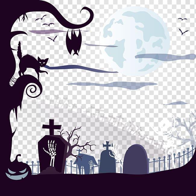 Halloween Cemetery Euclidean Illustration, Halloween.