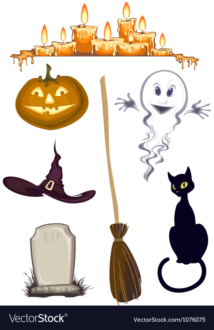 Halloween clipart set of icons.