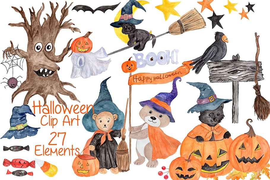 Watercolor Halloween kids clipart.