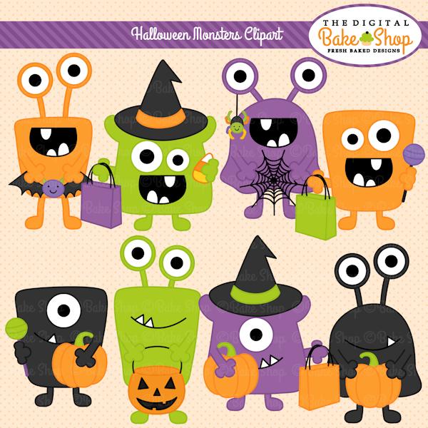 Halloween Monsters Clipart.