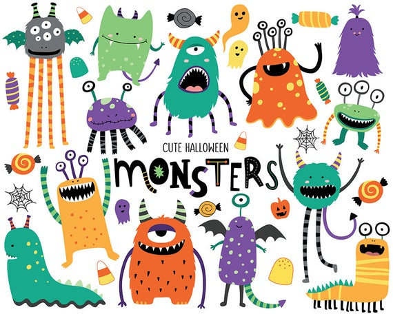 Halloween Monsters Clipart.