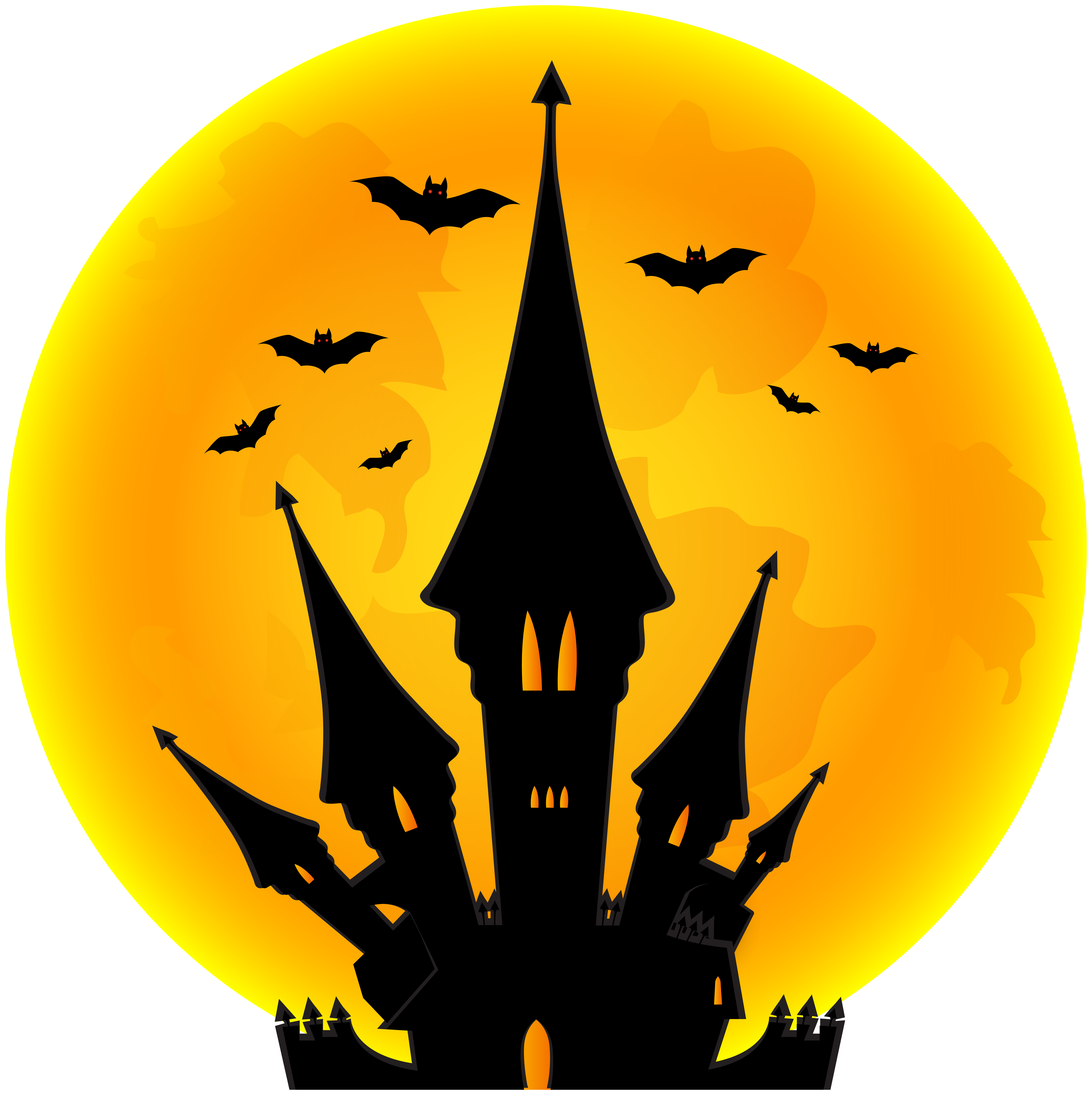 Halloween Moon and Castle PNG Clip Art Image.