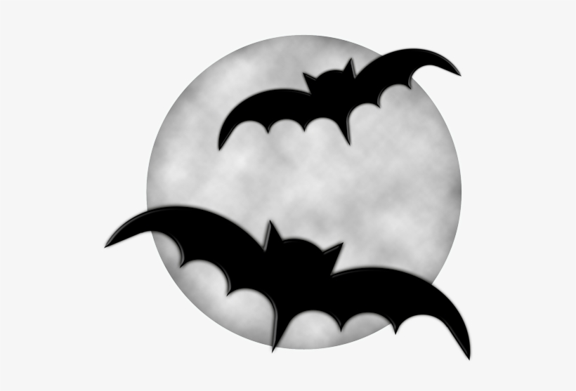 Halloween Moon With Bats Png Clipart.
