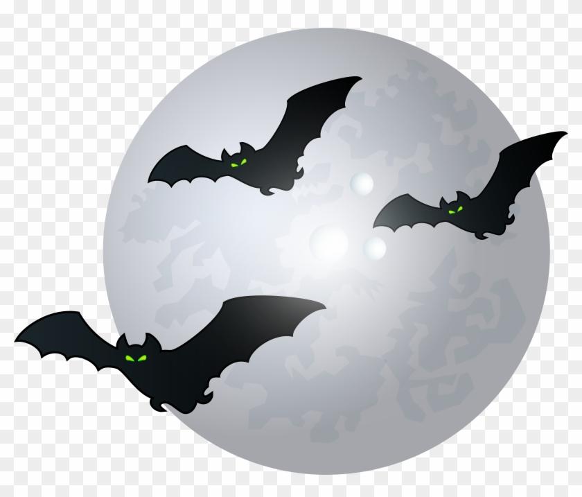 Halloween Moon With Bats Png Clip Art Image, Transparent Png.