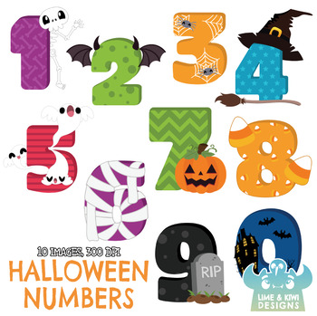 Halloween Numbers Clipart, Instant Download Vector Art, Commercial Use Clip  Art.