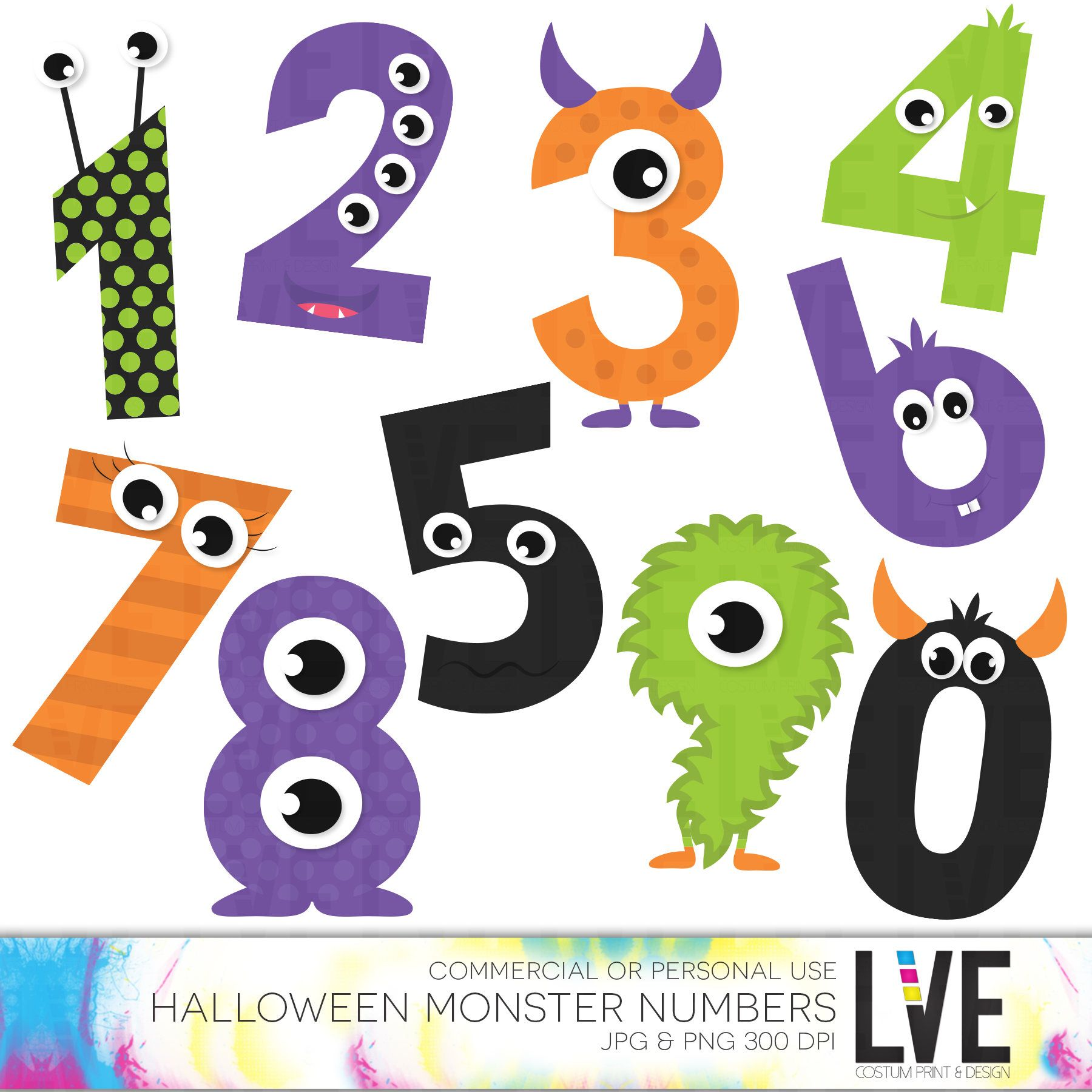 Cute Monsters Numbers Clip Art Halloween Clipart Monster.
