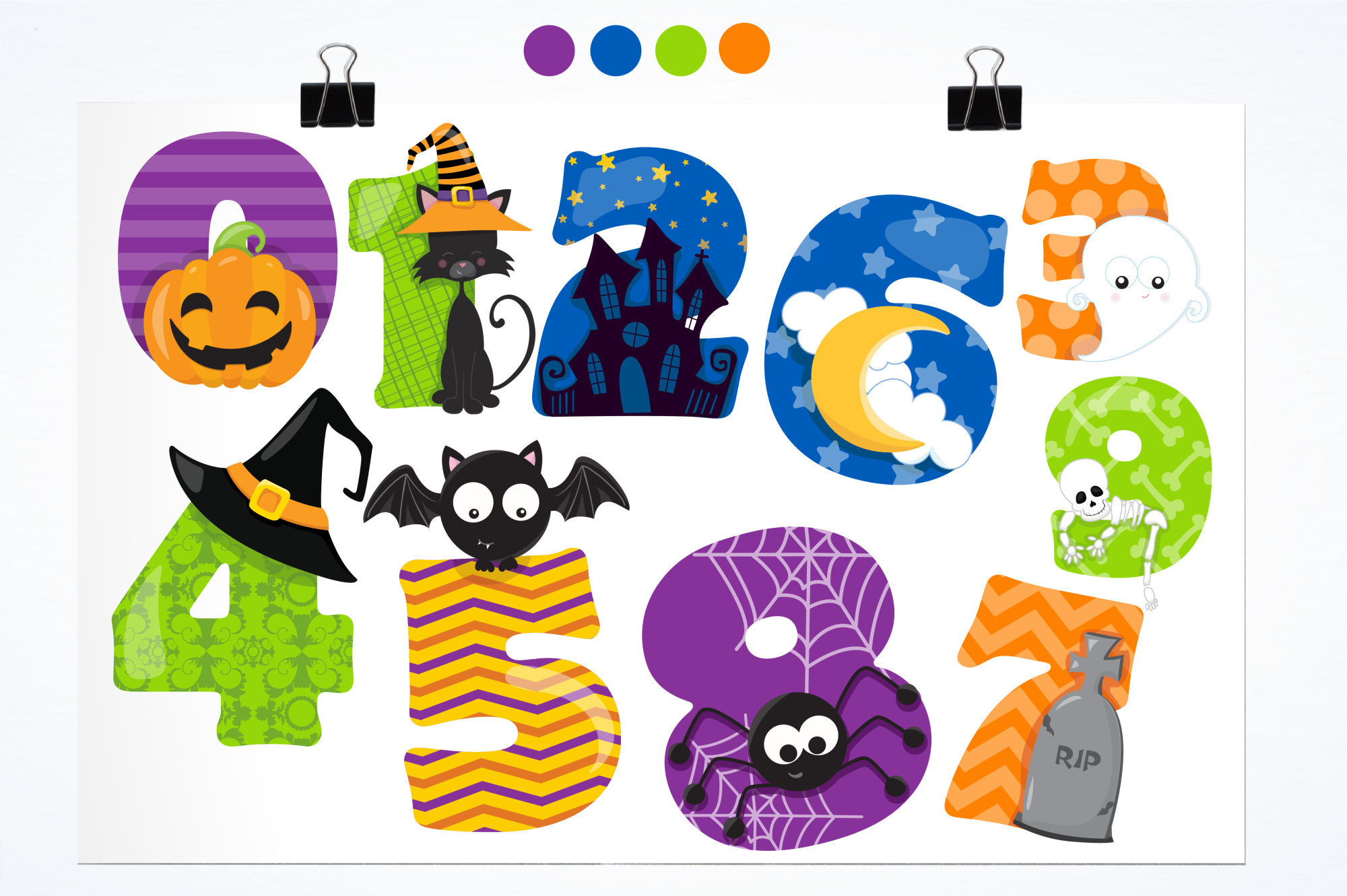 Halloween Numbers graphics and illustrations.