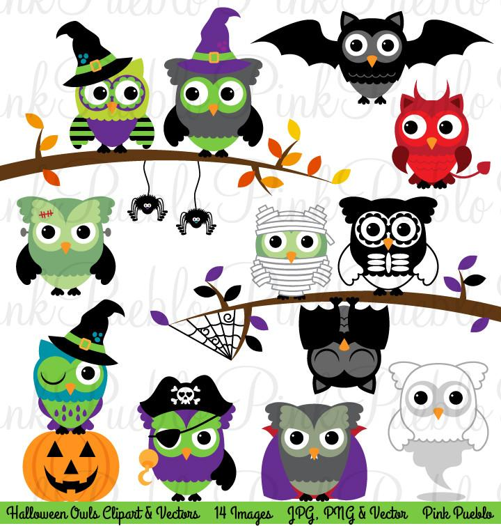 Happy Halloween Owl Clipart & Vectors.