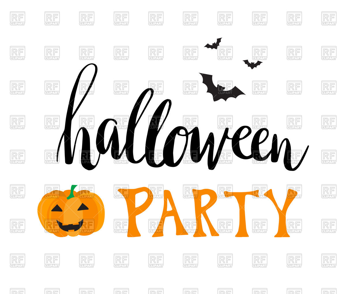 Greeting card for Halloween party with smiling pumpkin and bats Stock  Vector Image.
