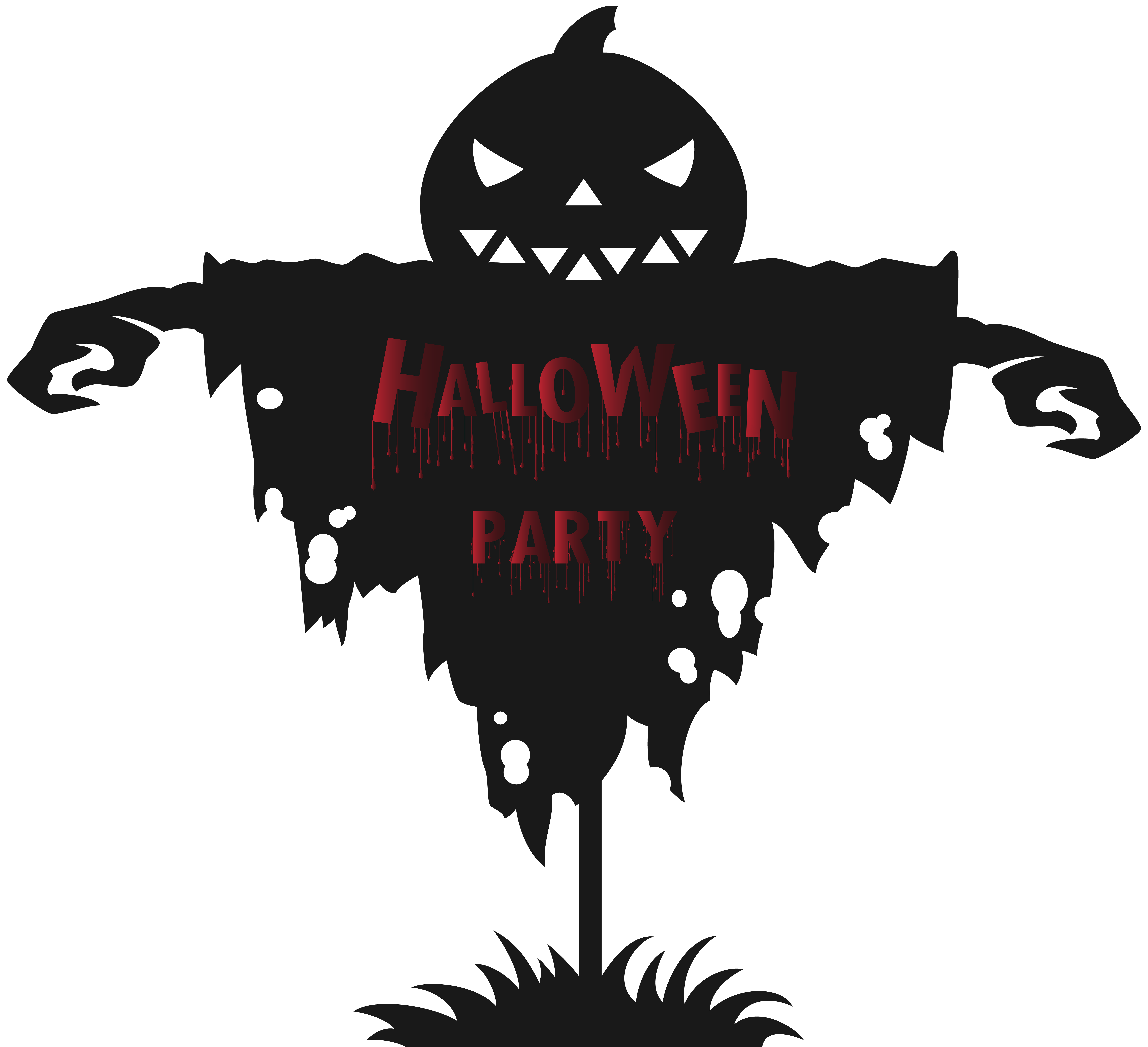 Halloween Party Scarecrow PNG Clip Art Image.