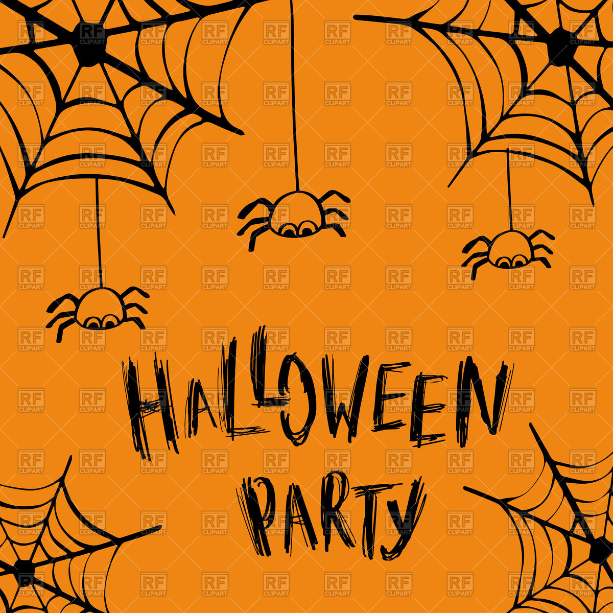 Halloween party invitation card with spiders Stock Vector Image.