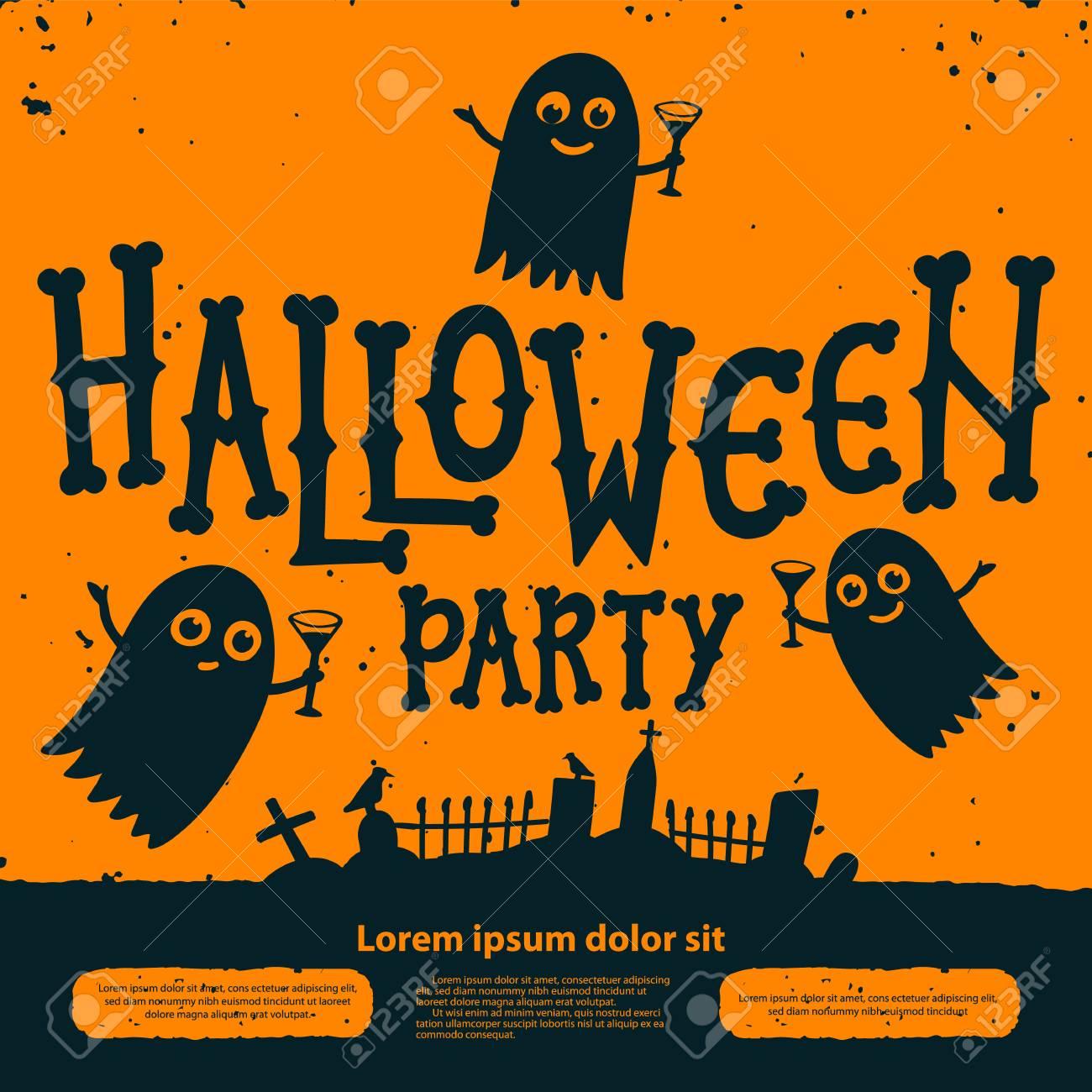Halloween party invitation card. Halloween Party Invitation Flyer.