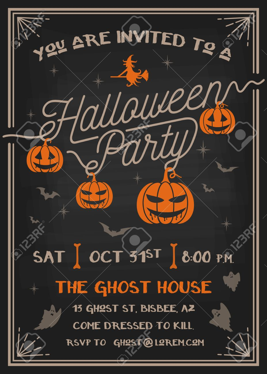 Typography Halloween Party Invitation card with scary pumpkins...