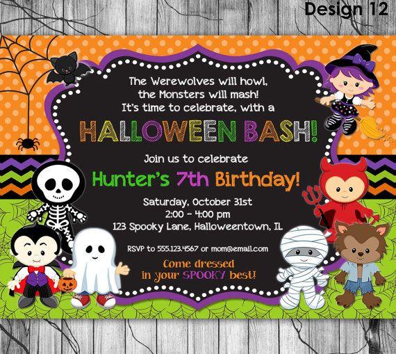 HALLOWEEN Birthday Invitation PRINTABLE Kids Halloween Party.