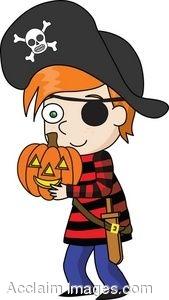 Halloween Clip Art of Little Boy in a Pirate Costume.
