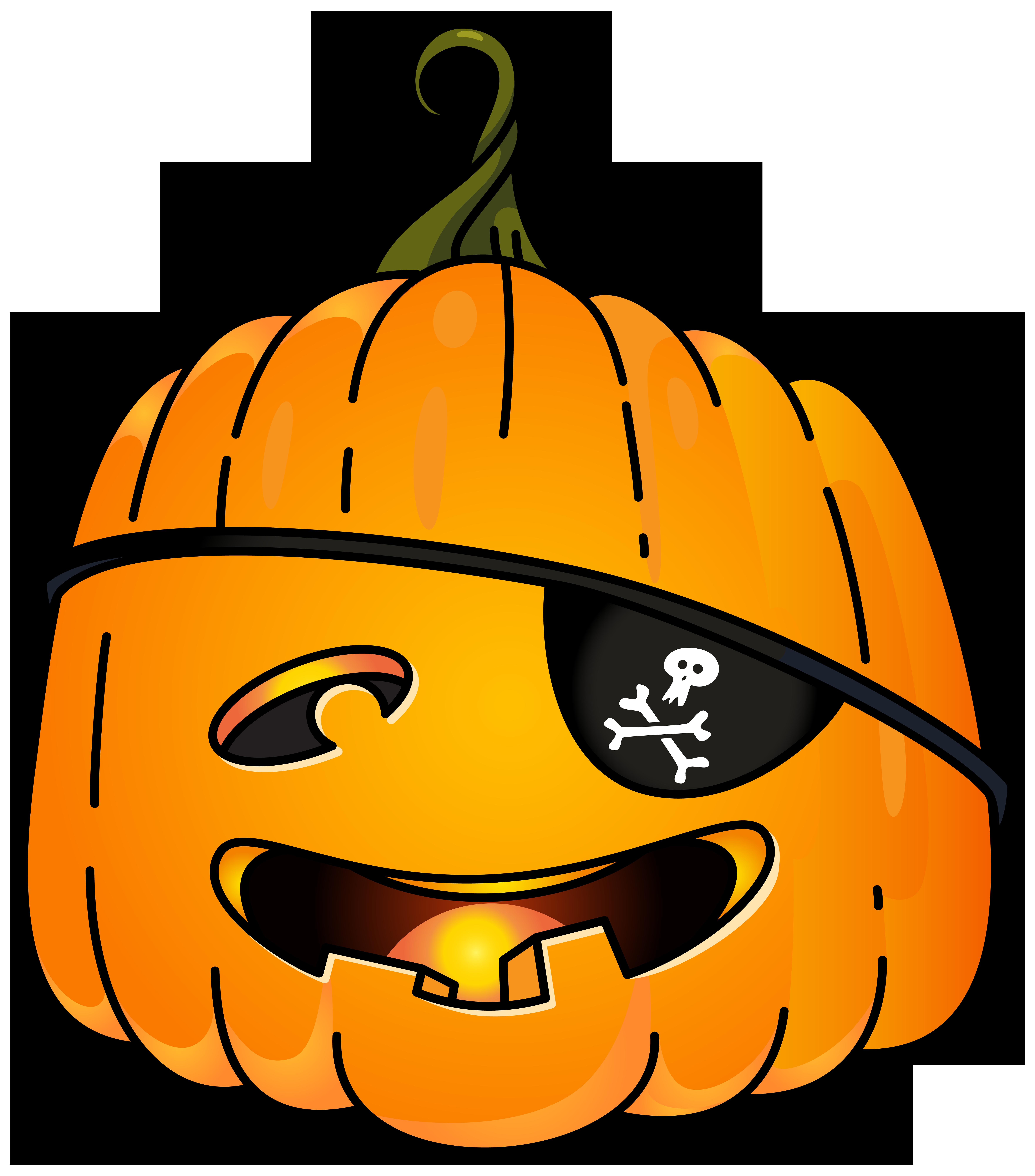 Halloween Pirate Pumpkin PNG Clip Art Image.