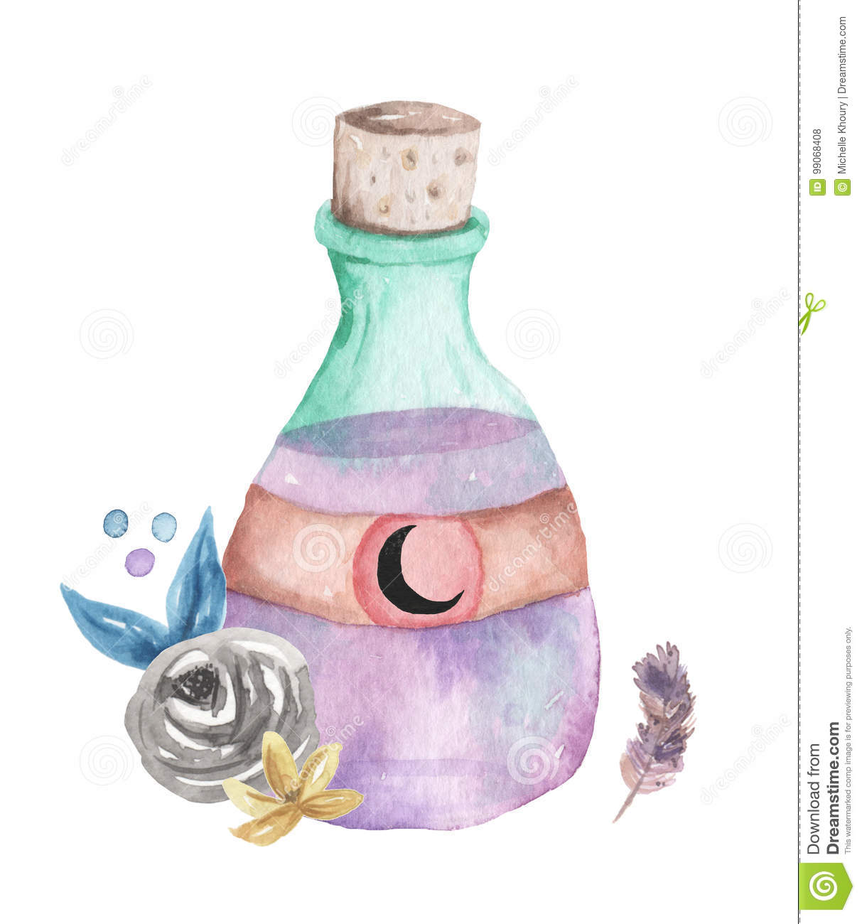 Watercolor Potion Bottle Halloween Leaves Feather Moon Arrangement.