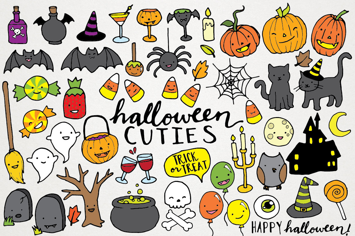 Cute Halloween Clipart hand drawn halloween clip art.
