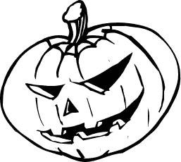 Black and white halloween pumpkin clipart.