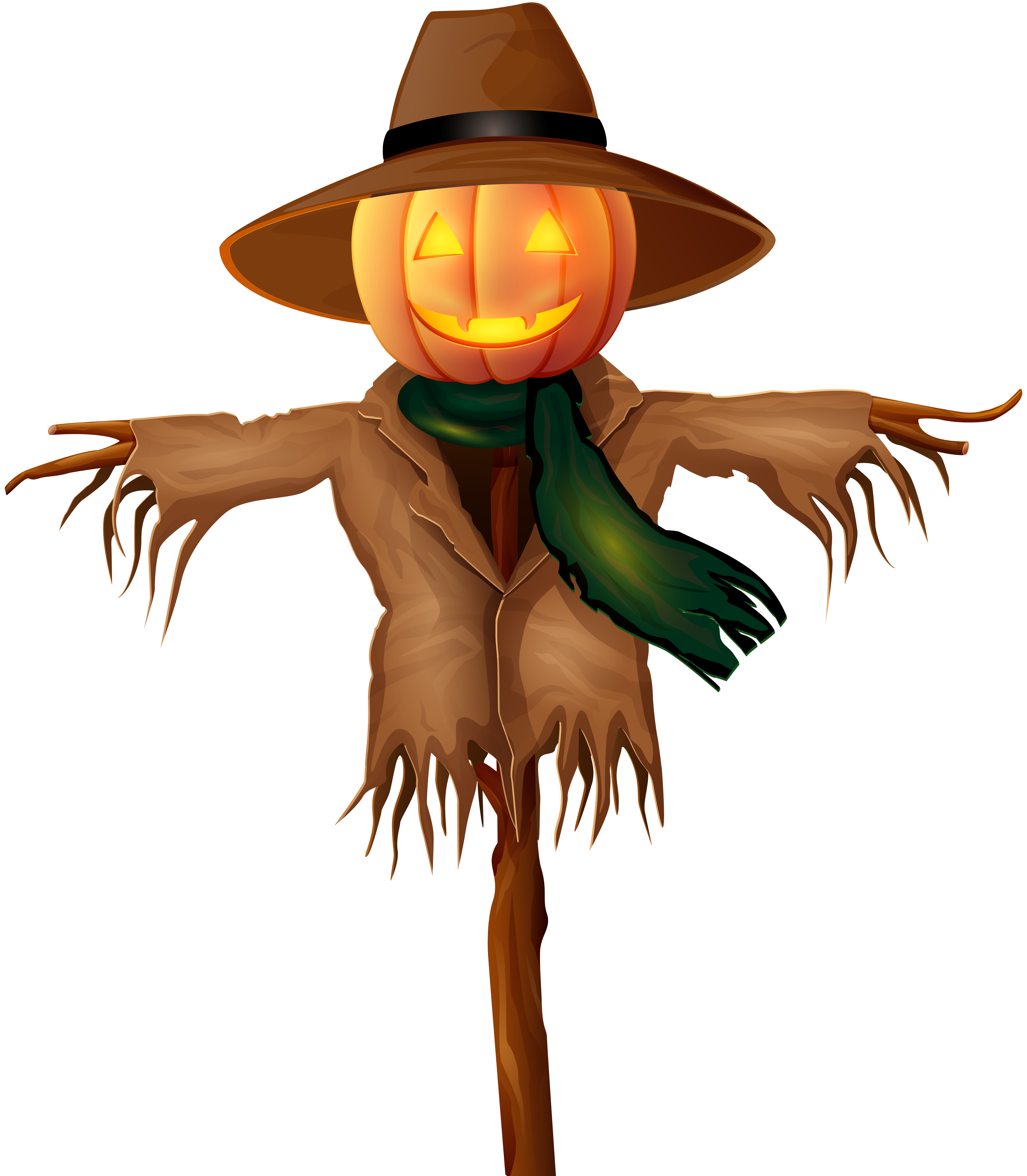 Halloween Scarecrow PNG Gold Clip Art.