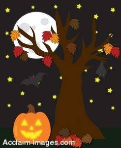 Clipart Illustration of a Halloween Scene With a Full Moon.