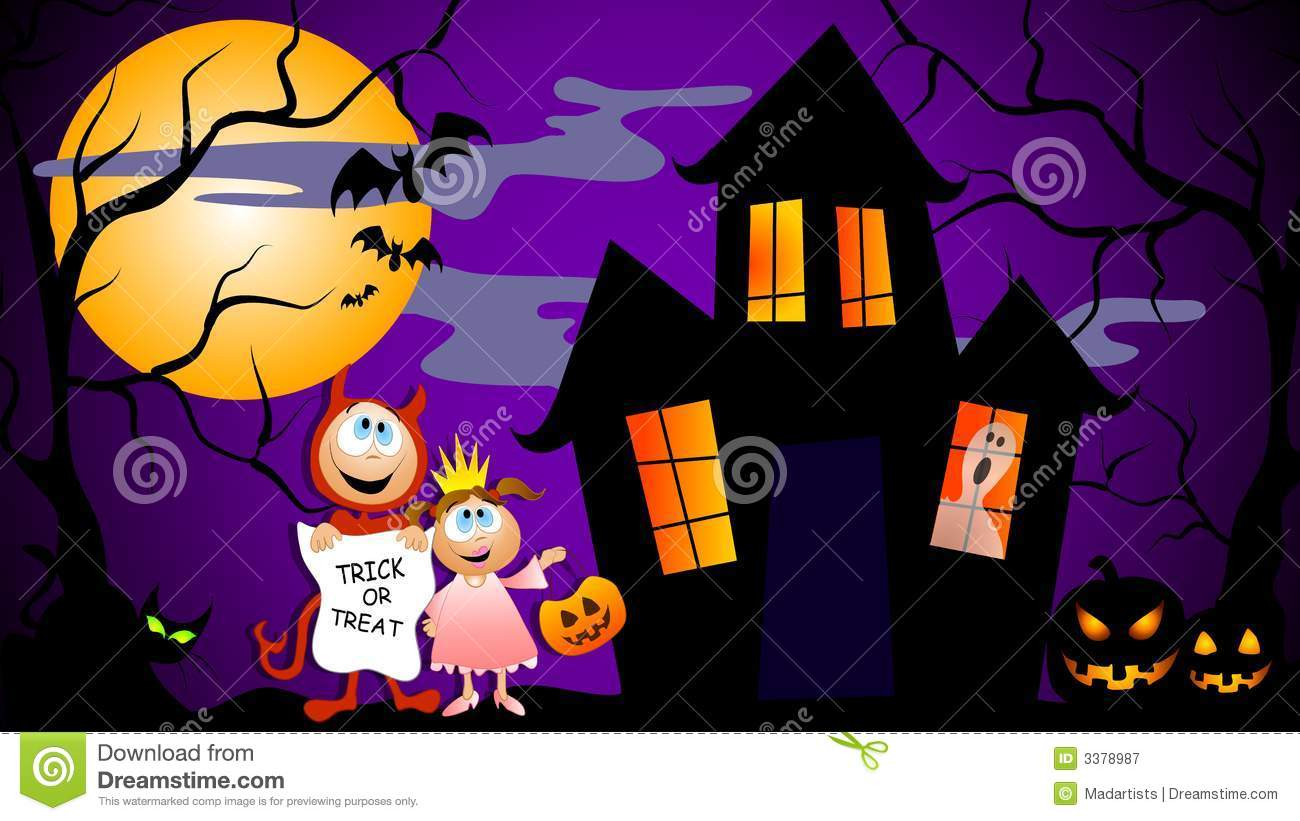 Trick Or Treat Halloween Scene Royalty Free Stock Photography.