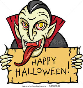 Vampire with a Long Tongue Holding a Halloween Sign Clip Art Image.