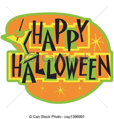 Vector Clip Art of Happy Halloween sign clip art csp1396991.