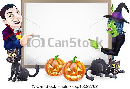 Vector Clipart of Halloween Dracula and Witch Sign.