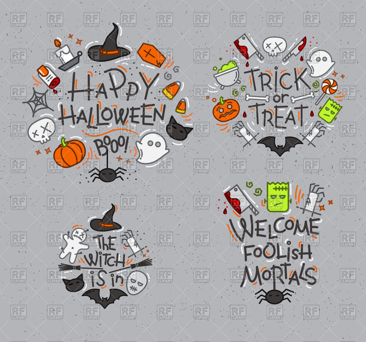 Set of halloween signs on gray background Stock Vector Image.