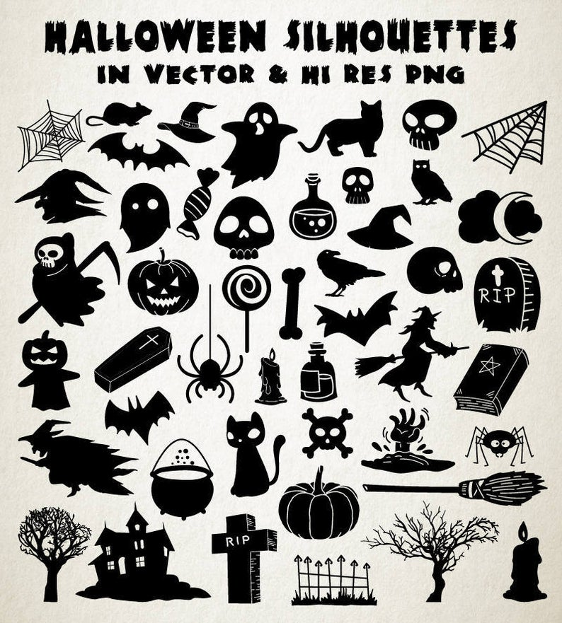 Halloween SVG, Halloween Silhouette Clipart Clip art, Halloween Cut Files  svg dxf eps png.