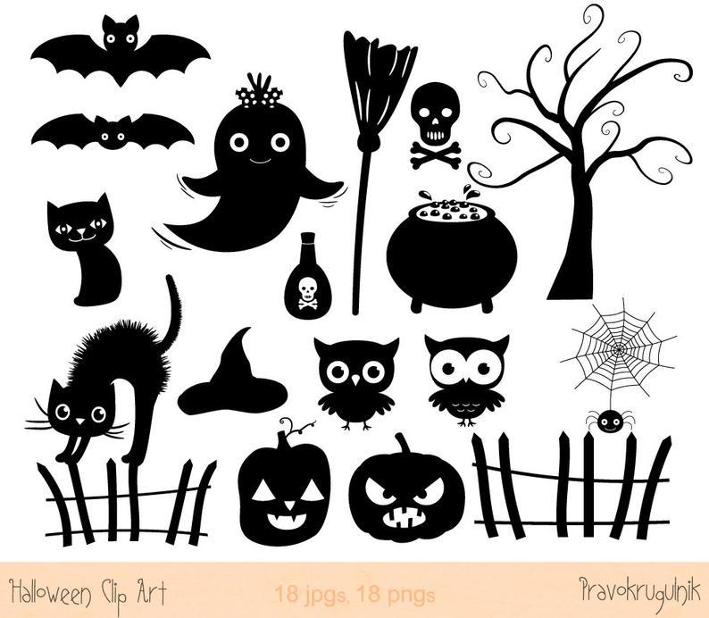 Halloween silhouette clip art, Halloween silhouette clipart set, Halloween  cat, Spooky Halloween party clipart, Halloween image, Ghost.