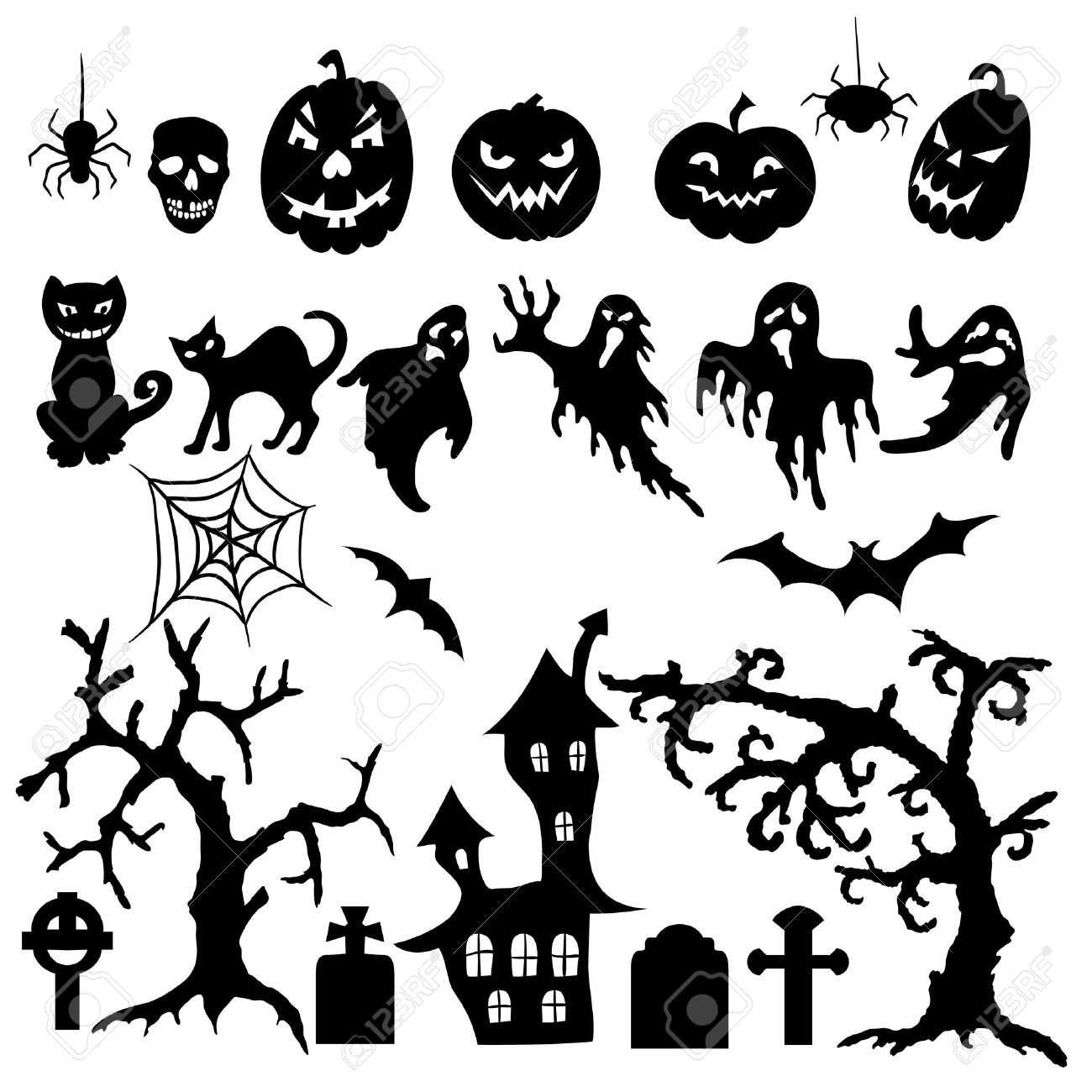 Set of halloween silhouette on white background.