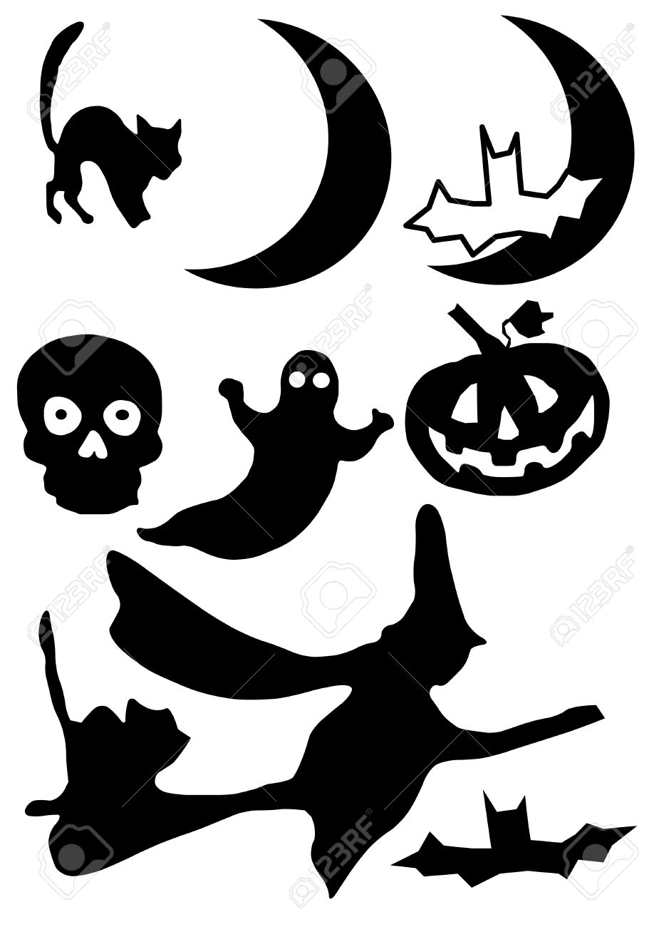 Vector Illustration of Halloween clip art images. In silhouette..