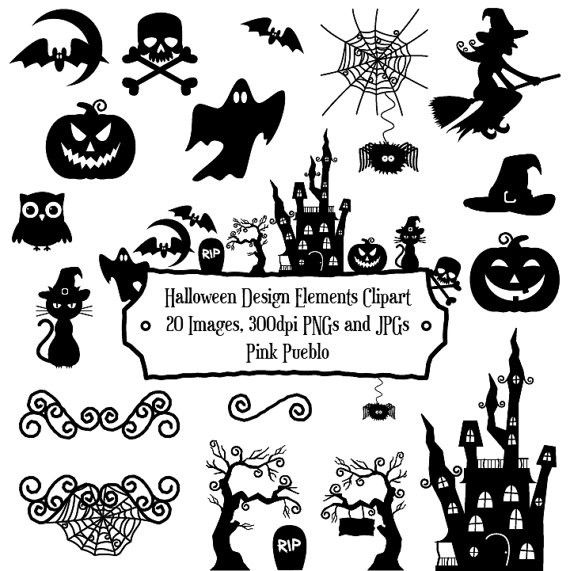 Halloween Silhouette Clipart Clip Art with Frame.halloween clipart.