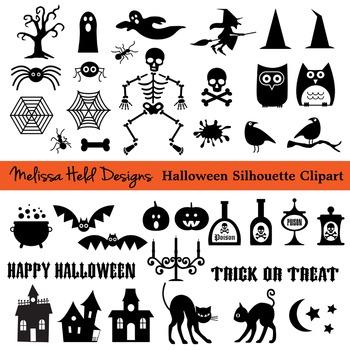 Halloween Black Silhouette Clipart.