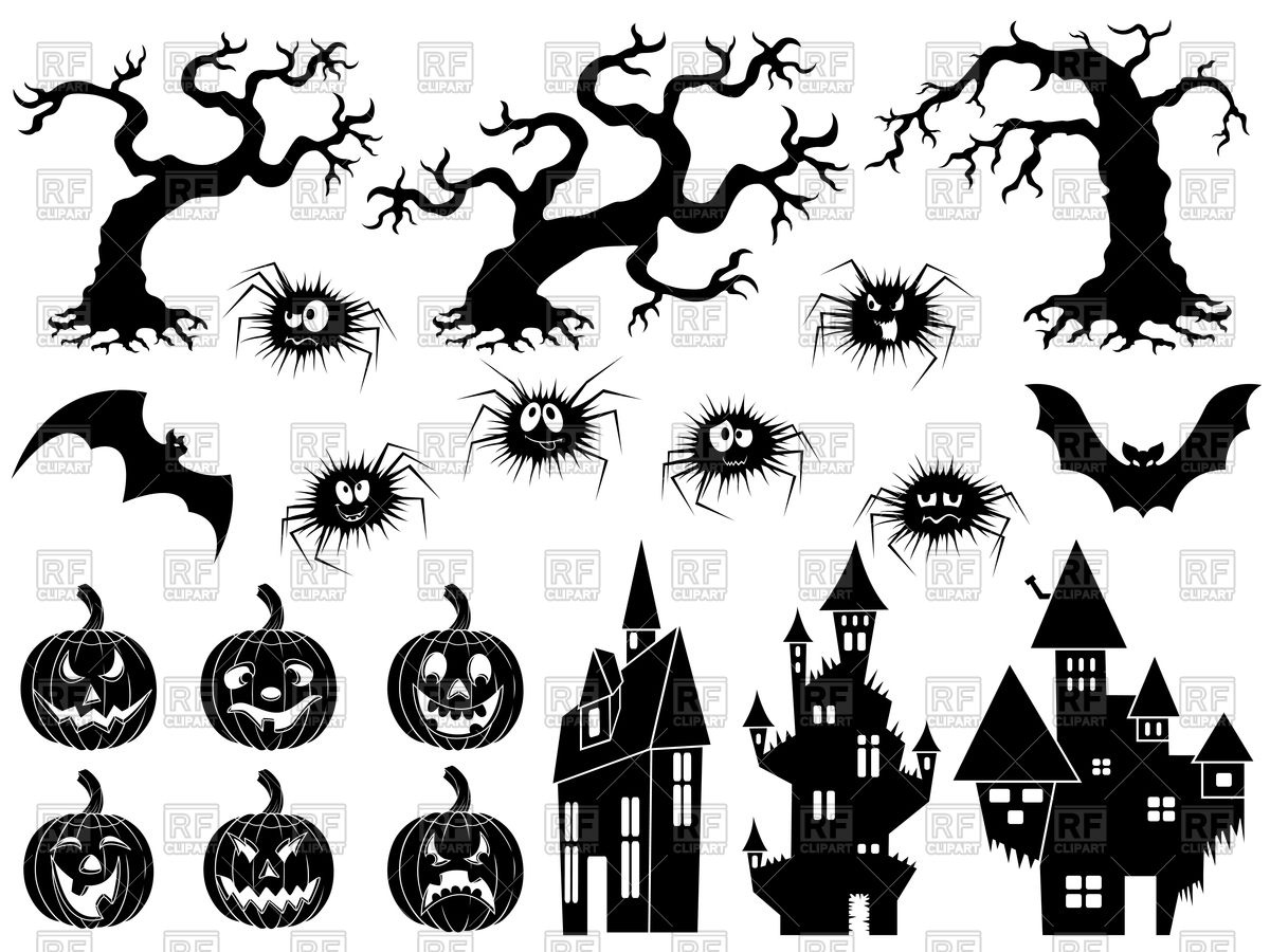 Set of different halloween silhouettes Stock Vector Image.