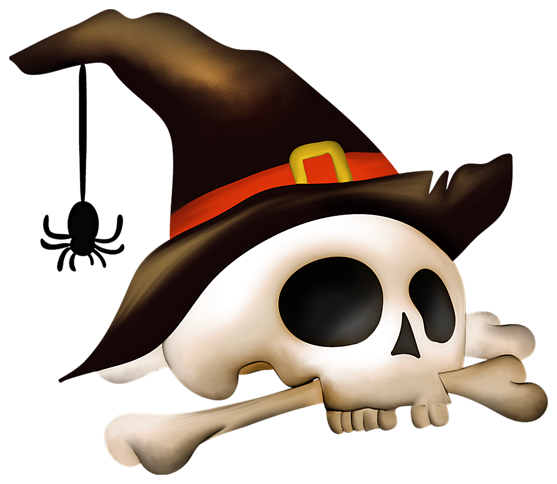 Halloween Skull with Bone and Witch Hat Clipart.