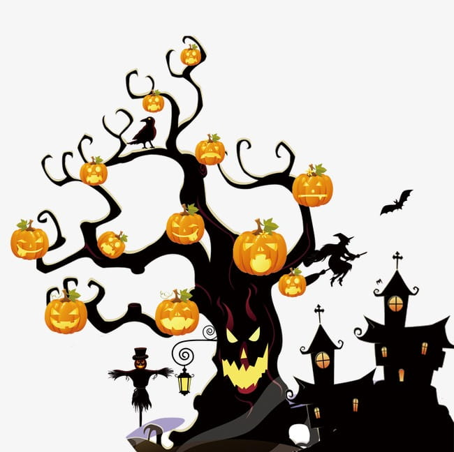 Halloween, Halloween town and tree art illustration PNG.