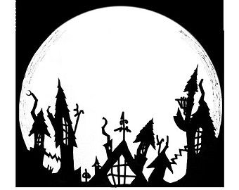 Nightmare Before Christmas Halloween Town Silhouette.